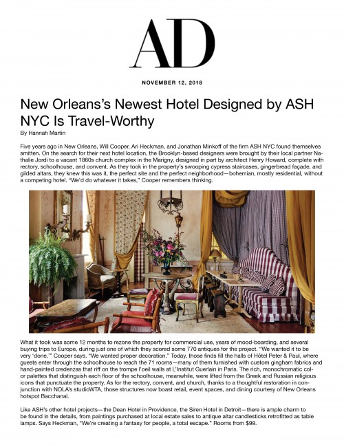 New Orleans's Newest Hotel Designed by ASH NYC Is Travel-Worthy