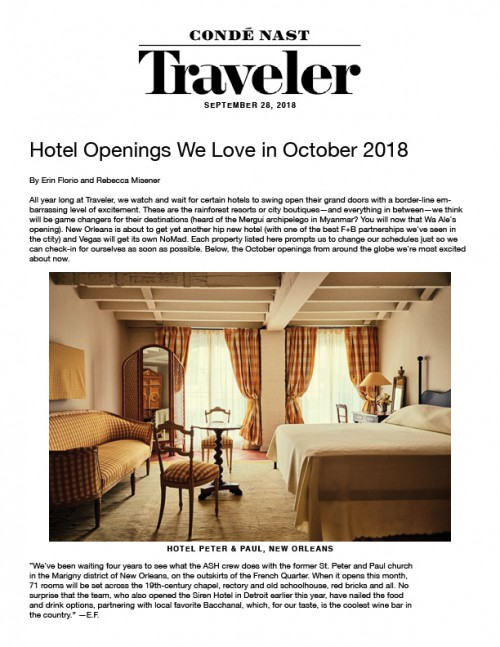 Hotel Openings We Love in October 2018