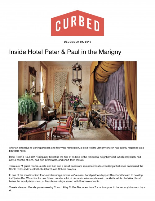 Inside Hotel Peter & Paul in the Marigny