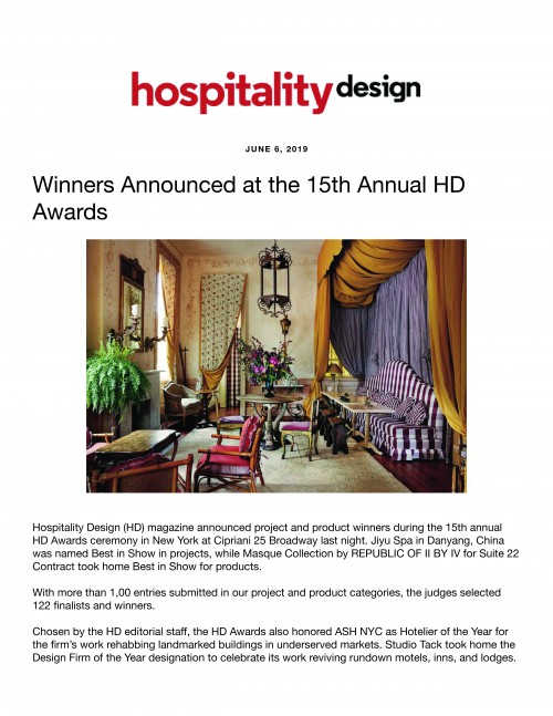 Winners Announced at the 15th Annual HD Awards