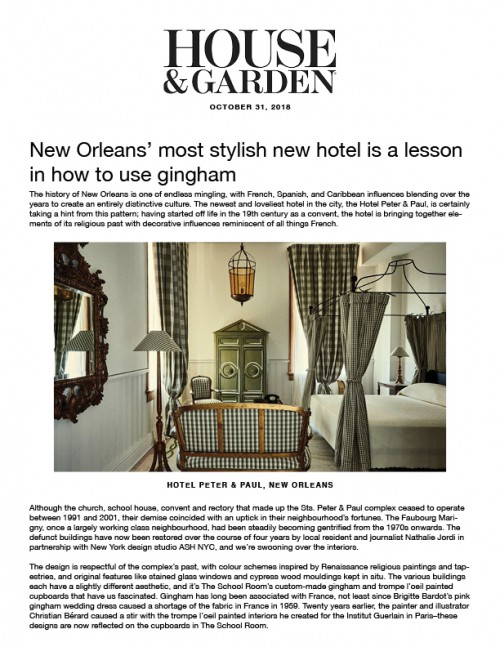 New Orleans' most stylish new hotel is a lesson in how to use gingham