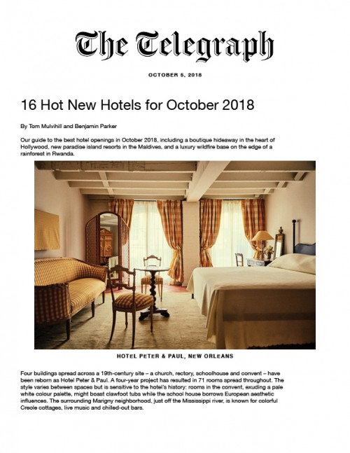 16 Hot New Hotels for October 2018